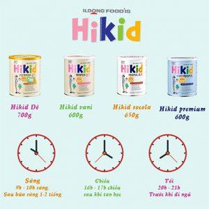 Thời gian bổ sung sữa Hikid phù hợp cho trẻ